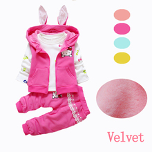 2017 Winter Velvet Toddler Girl Clothing Sets 3pcs or 2pcs Warn Coats Kids Clothes Sets Baby Girls Winter Clothes Hello Kitty(China)