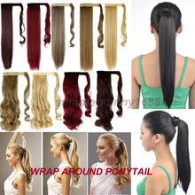 "Local Warehouse Real Thick Hair Wrap On Ponytail Hair Piece Clip In Pony Tail Hair Extension 18"" Curly/Wavy Style 15 Colors"