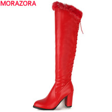MORAZORA Knee high boots early winter solid elegant women boots high heels fashion boots large size 34-48 rabbit hair pu party