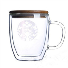 475ml  Double Cups transparent Heat Resistant Glass coffee cup with bamboo Lid Mermaid Mug
