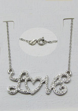2015 Hot Sale Special Offer Trendy Women LOVE Pendant Necklaces Silver Jewelry Collar Necklace with Austrian Crystals