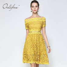 Ordifree 2017 Summer Off Shoulder Lace Dress Crochet Floral Short Sleeve Knee Length Yellow Women Midi Dress Plus Size XXL(China)