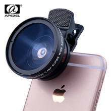 APEXEL For iPhone6 Samsung xiaomi camera lens 0.45x Super Wide Angle&12.5x Super Macro Lens 2 in 1 High HD phone lens APL-0.45WM(China)