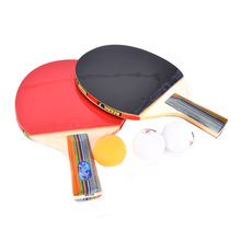 1 Pair Double Face Rubber Table Tennis Racket Ping Pong Paddle with 3 Balls - Short Handle High Quality