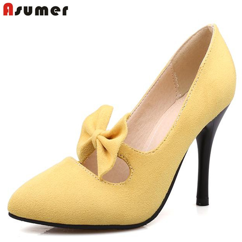 nubuck leather high heels suede sweet hot sale elegant ladies pumps dridal shoes summer wedding shoes pink bowknot <br><br>Aliexpress