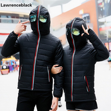Hooded Design Winter Men Down Jacket Thick Warm Cotton Coat Male Windbreaker Quilted Padded Coat with Glasses Lover Overcoat 107