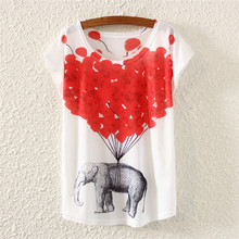New & Novelty pattern girls t-shirt women summer dress 2015 fashion printed top tees Fly elephant printing tshirt drop shipping