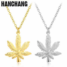 Fashion jewelry Stainless Steel Gold Color Hemp Leaf Pendant Necklace Maple Leaf Unisex Hip Hop Necklace Collier Long Chain