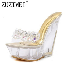 Female Summer New Women High Quality Sandals Pink Slippers High-heeled 14cm Platform 4cm Wedges Transparent Crystal Waterproof(China)