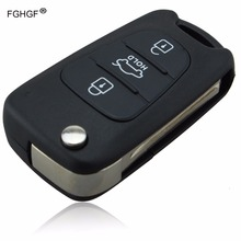 FGHGF Key Cover For Hyundai IX35 3 Buttons Flip Folding Remote Key Shell Case Replacement with LOGO