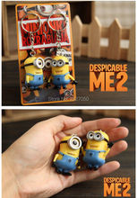 2PCS Cartoon Key Ring Chain Despicable Me 3D Eye Small Minions Action Figure Kid Toy Keychain For Girlfriend Kids