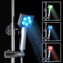 Square Chrome Finish Temperature-controlled 3 Colors LED Hand Shower Handheld Shower Head DD11
