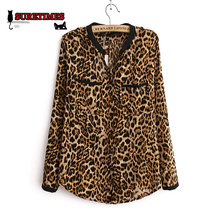 2017 Women Blouse Leopard Print Shirt Long sleeve V -Neck Top Loose Blouses Plus Size Chiffon Shirt Camisa Feminina Clothing(China)