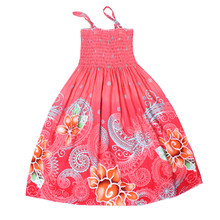 2017 New Bohemian Girls Dress Flower Beach Girls Summer Princess Dress Cotton dresses for girls retail and wholesale