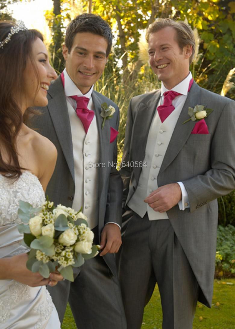 CUSTOM MADE TO MEASURE Tailored tuxedos/ tails,grey men suit tailcoat, men wedding cutaway suit(Jacket+Pants+Vest+Tie)