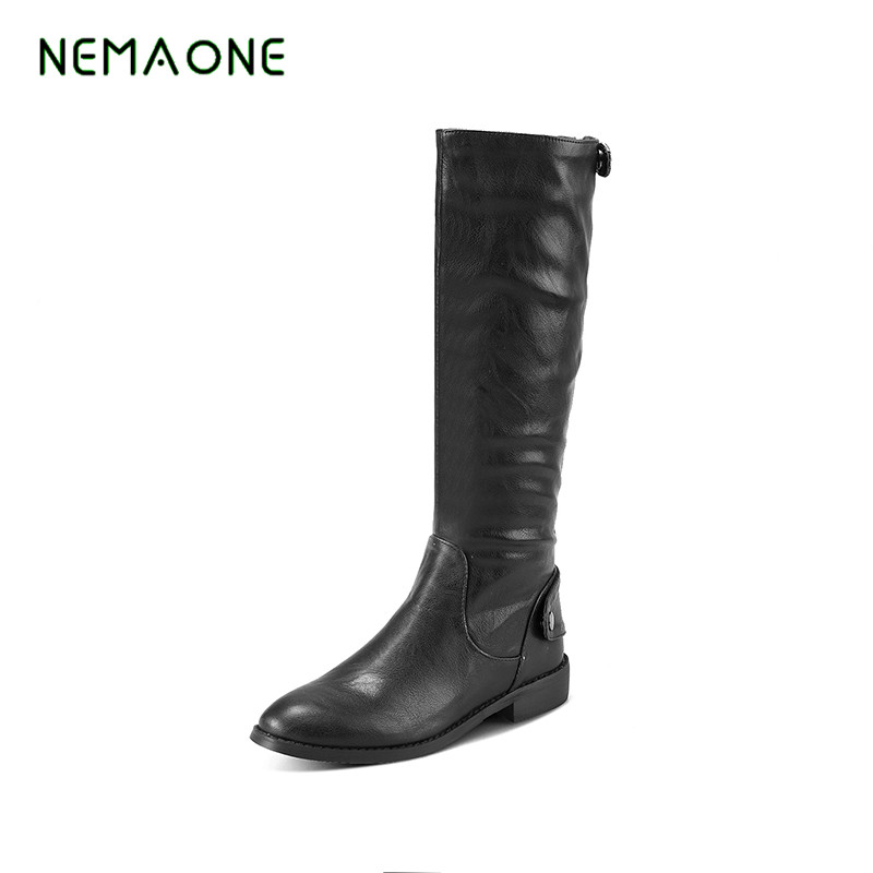 NEMAONE 2017 Shoes Women Boots high Quality Pu Knee High Boots Shoes Buckle Flats Shoes Winter Female Motorcycle Boots<br>