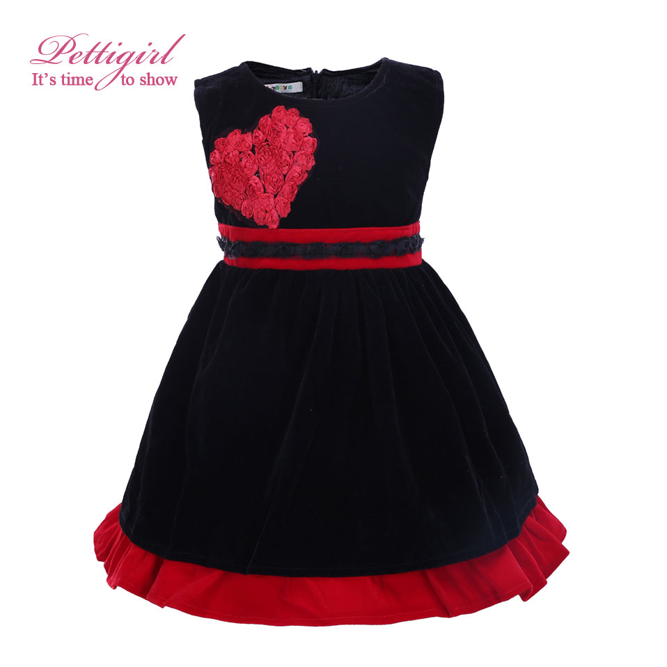 Pettigirl Hot Selling Autumn Rose Red Girl Dress Sleeveless Lacy Dress With Red Heart Design Children Wear GD21029-12(China)