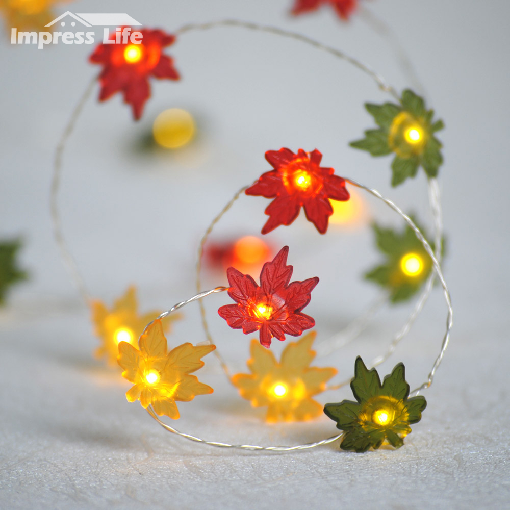 Maple Leaf String Lights Fall Leaves 10ft 40 Led Fairy Copper Wire