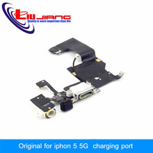 100% Original Quality Dock Connector USB Charging Port For iPhone 5 With Headphone Jack Tail Plug Flex Cable White/Black