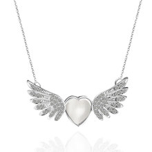 F&U Silver Color Unique Design Fashion Trendy Zinc Alloy Rhinestone Angle Wing with Heart Pendant Chain Necklace
