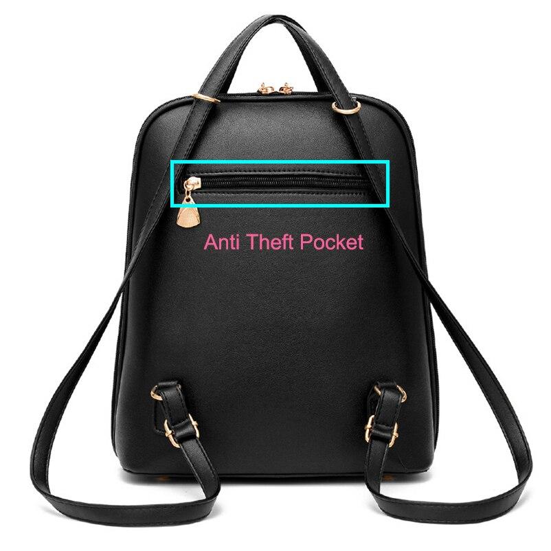 Nevenka Anti Theft Leather Backpack Women Mini Backpacks Female Travel Backpack for Girls School Backpacks Ladies Black Bag 201816.