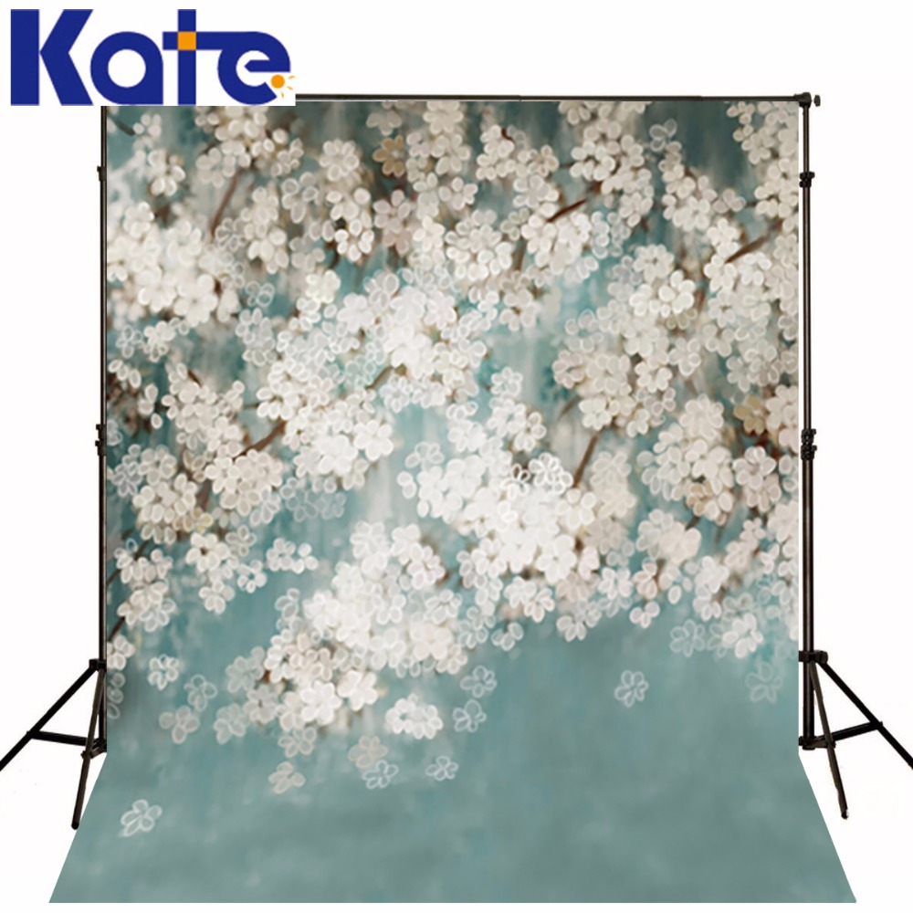 150Cm*200Cm(5*6.5Ft) Kate Photographic Background White Flowers Bloom In Spring Newborn  Photographic Studio Background S-102<br>
