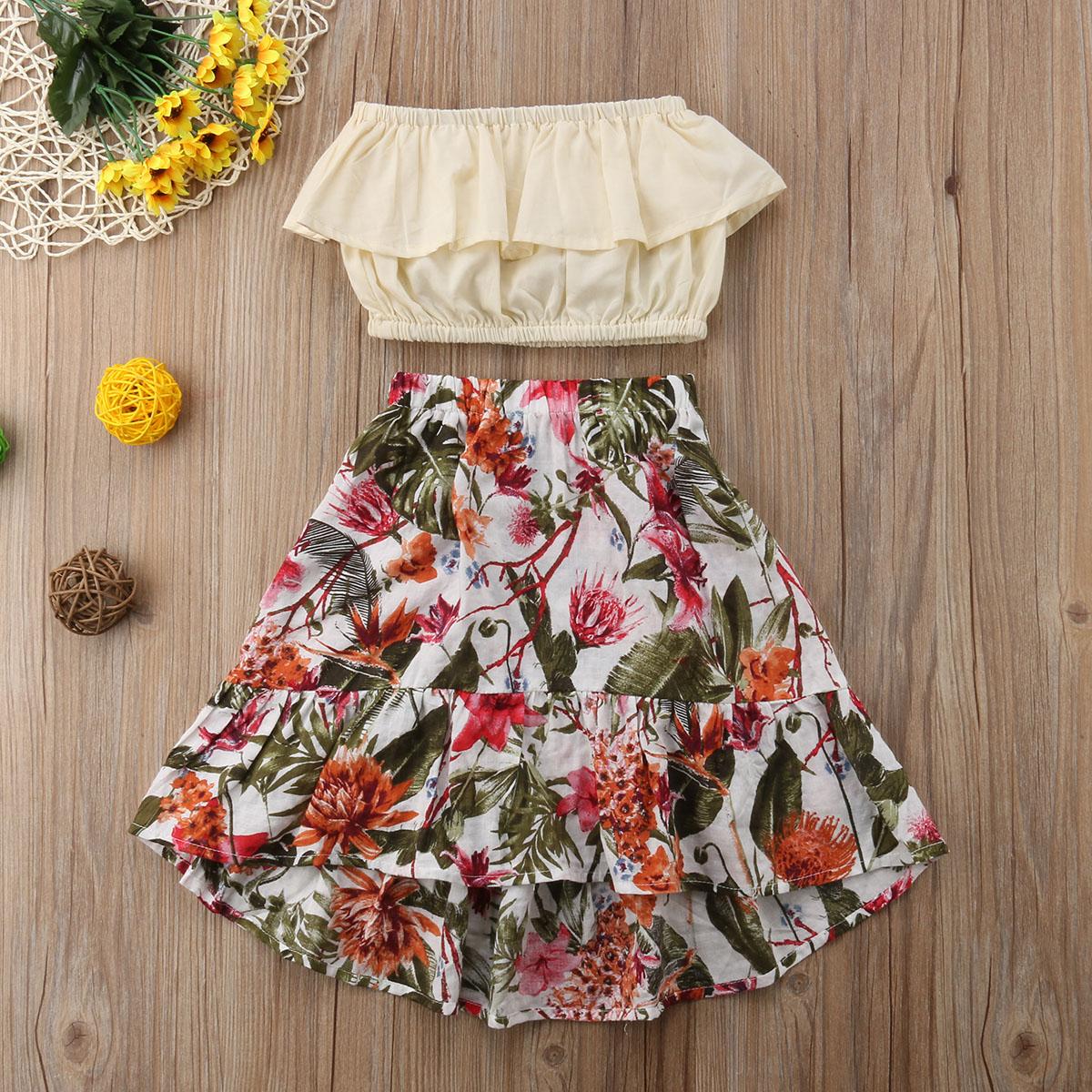 Guyay 2PCS Baby Girl Summer Outfits Off Shoulder Ruffle Floral Print Tube Top Shirt Shorts Pants Casual Clothes