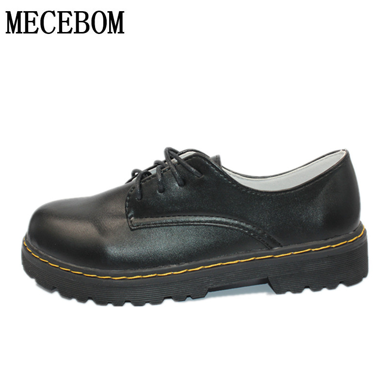 England Style Womens Oxfords Fashion Autumn Shoes Woman Round Toe Flats Platform Casual Vintage Shoes punk black calzado mujer<br>