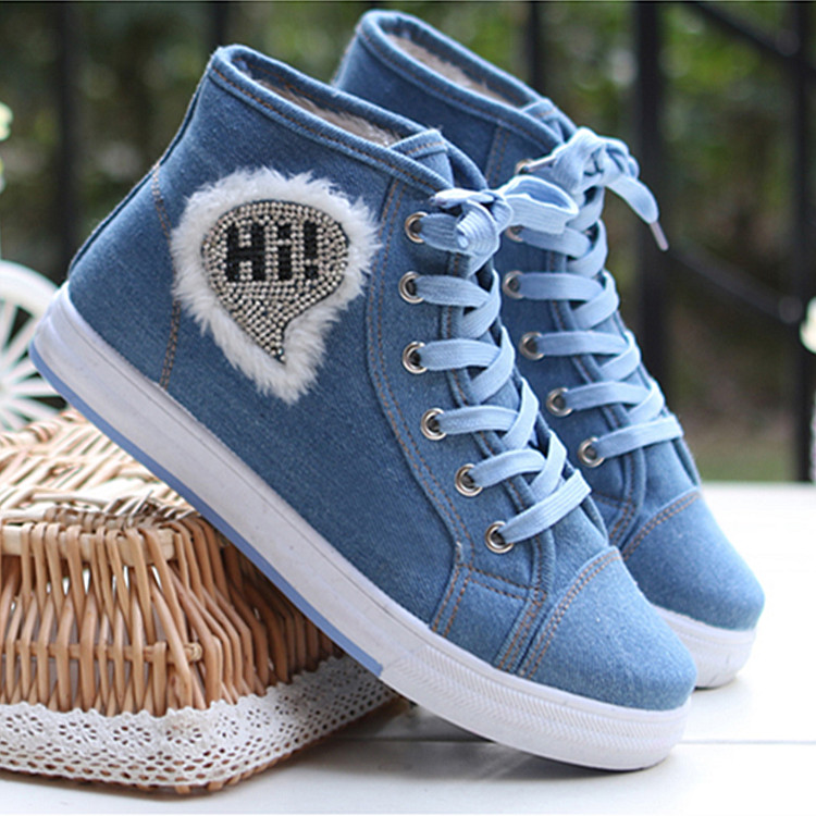 Plus velvet high-top canvas shoes girls shoes warm shoes casual denim Bumian student shoes<br><br>Aliexpress