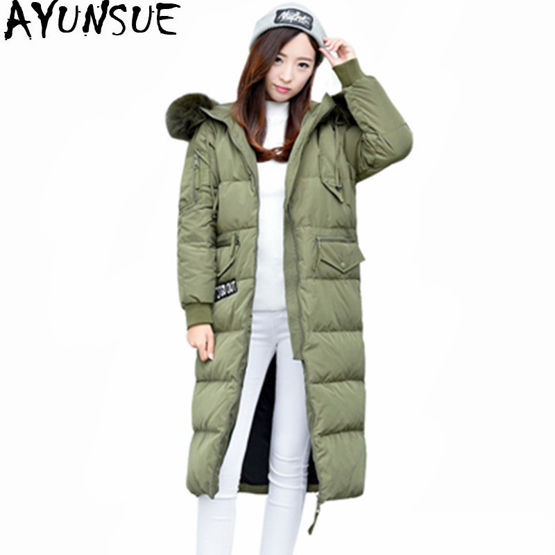 AYUNSUE Real Raccoon Fur Collar Women's White Duck Down Jackets Maxi Size 5XL Coat Female Winter Jacket Women Thick Parka WXF503