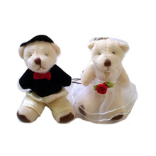 Wholesale 10 pairs/Lot Mini Wedding Dress Teddy Bear Small Pendant Mobile Phone Chain Wedding Gift Plush Toy Small Doll(China)