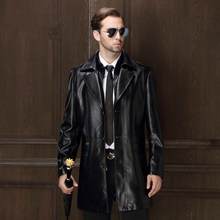 Buy Winter men's suit collar PU leather coat middle-aged leather male plus size leather jacket long paragraph warm parkas MZ1178 for $86.94 in AliExpress store