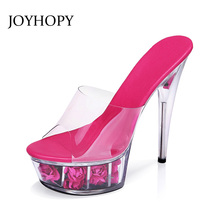 JOYHOPY Women High Heel Sandals Transparent Crystal Shoes Summer Woman Platform High Heels Lady Party Slipper Plus size 34- 44(China)