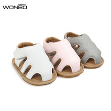 2017 New Design WONBO Baby Sandals Cute Boys Girls Summer Clogs Soft Toddler Shoes 3 Colors(China)