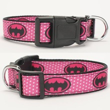 "NEW 1""25mm pink bat logo avenger pattern printed Dog Collar,1 inch top Dog Collar 2 size avaiable"