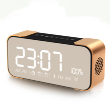 Stereo alarm clock wireless Bluetooth speaker card car Mini subwoofer mobile phone flat panel audio radio call metal
