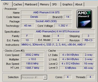 3.6GHz//6MB//4 Cores//Socket AM3//938-pin HDZ975FBK4DGM Desktop CPU AMD Phenom II X4 975
