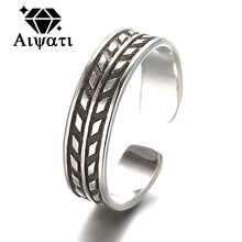 Thailand Silver Jewelry Rings Rope Design Vintage 925 Silver Rings For Women