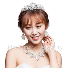 Bridal Tiara Rhinestones And Pearl Tiaras Crowns Wedding Cake Topper Queen Princess Bridal Crown Photo Prop Wedding Props(China)