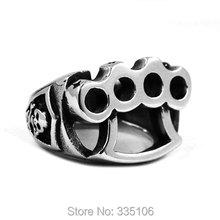 Free Shipping! Skull Knuckles Boxing Glove Biker Ring Stainless Steel Jewelry Classic Motor Biker Men Ring Wholesale SWR0436(China)