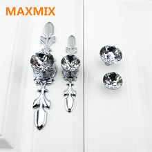 drawer Diamond hardware cabinet knobs small handle European style Furniture Closet cabinet handle crystal door knobs and handles