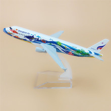 Thai Bangkok Air A320 Airways Airbus 320 Airlines Airplane Model w Stand 16cm Metal Alloy Plane Model Aircraft  Gift