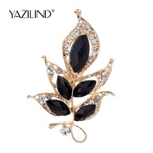 Fashion Lovely Black Flower Carve Shining Crystal Brooch Wedding Party Gift