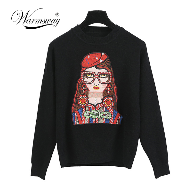 Runway Viscose Brand Sweater Women New Designer Glass Sweet Girl Pattern Long Sleeve Chic Knit Pullover Fashion Jumper C-082