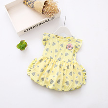 New Toddlers Baby Girls Dresses Designs 2017 Summer Cotton Yellow Baby Dress Birthday Party Dress For 1-3 Year Baby Girl Dress