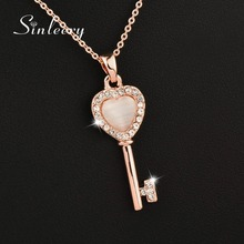 SINLEERY Charm Heart Opal Key Pendant Necklace Female Girl Rose Gold Color Short Chain Jewelry Gifts Xl608 SSJ(China)