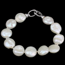 YYW Wedding Women Bridal Natural Real Grade AA Freshwater Cultured Pearl Bracelet White Coin Pearl Charm Beaded Pearl Bracelets