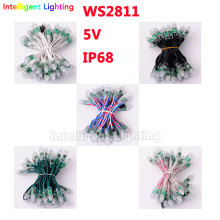 50pcs/100pcs 12mm WS2811 led module 5V/12V Black/Green/White/Crystal/RWB Wire RGB Digital IP68 waterproof,Addressable(China)