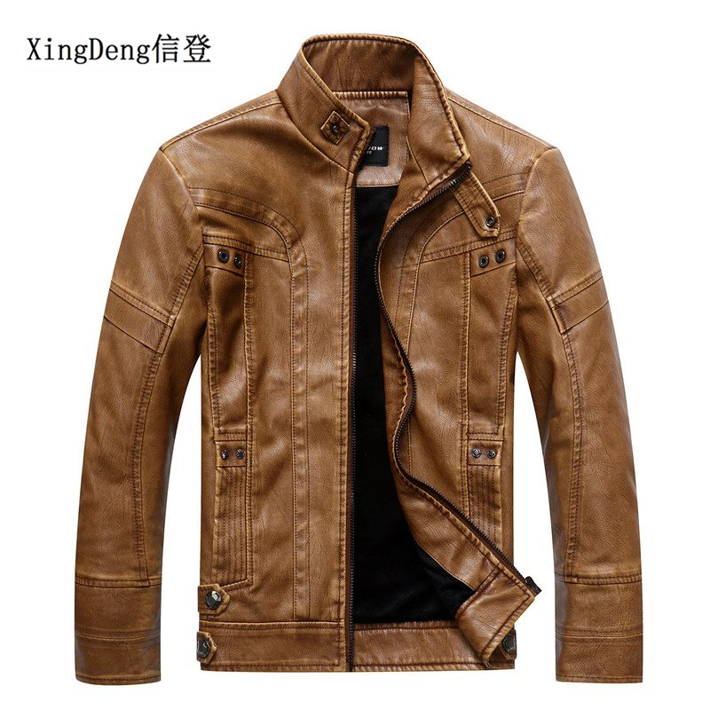 XingDeng motor style warm Jackets Winter waterproof thicken top coat Fashion Men's PU Leather Collar brand Jacket plus size 4XL