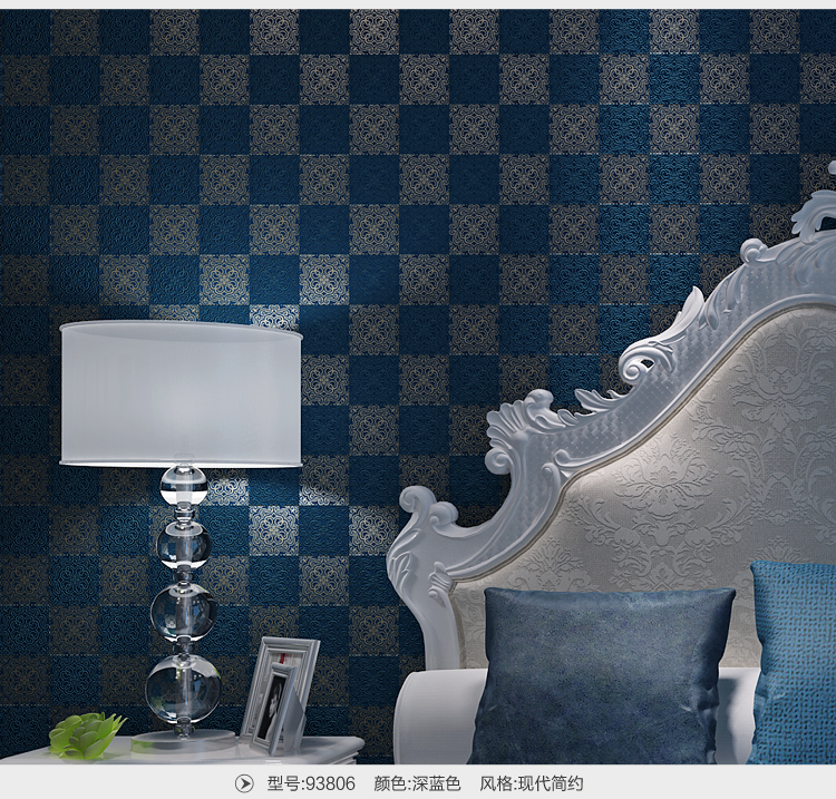 Modern Blue Lattice Non-woven Wallpaper papel de parede para sala atacado<br>
